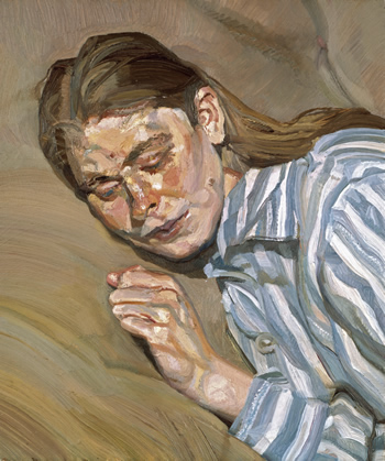 Girl in striped nightdress, Lucian Freud