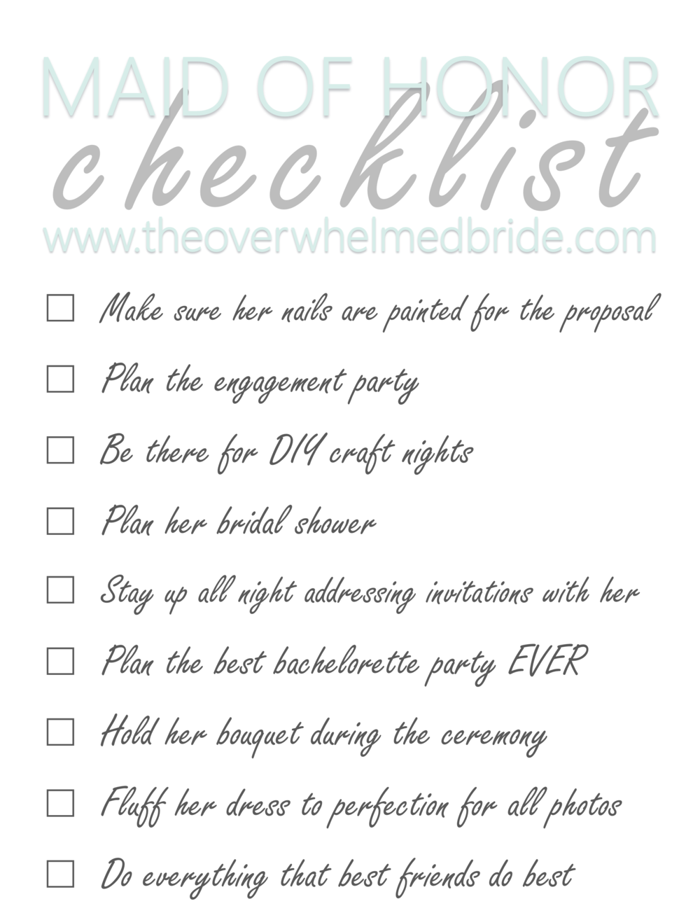 Maid of Honor Checklist - The Overwhelmed Bride // Bridal Lifestyle + Wedding Blog