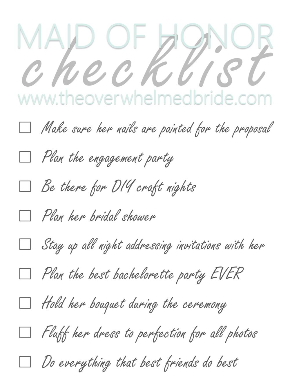 Maid of Honor Checklist The Overwhelmed Bride Wedding Blog