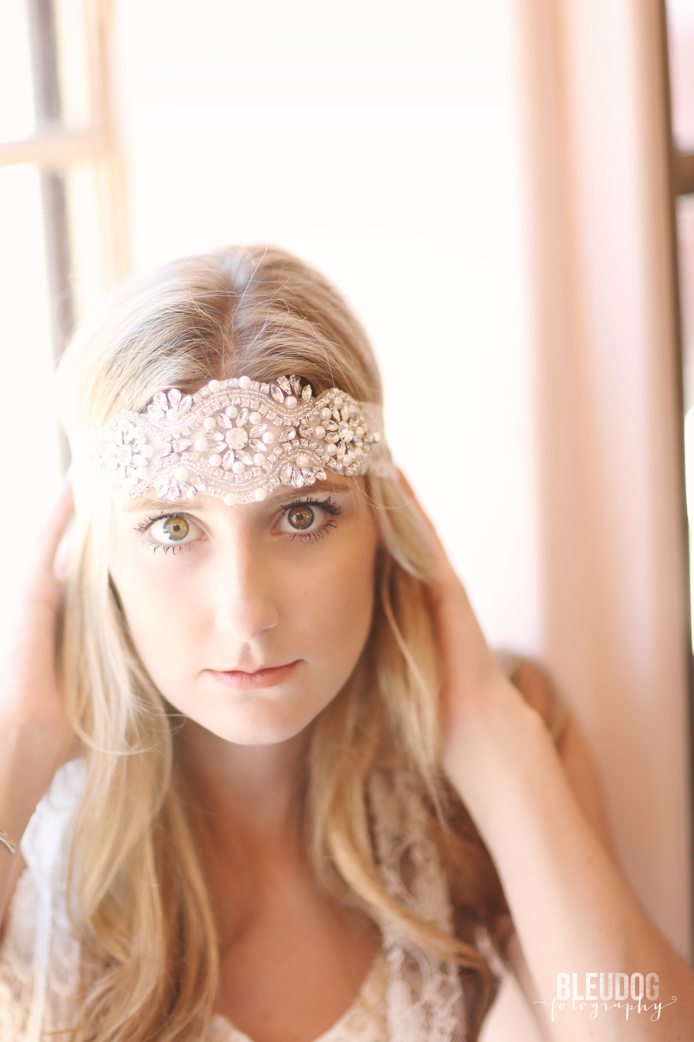 Pearl, Rhinestone, and Lace Bridal Headband by Southern Ever After // The Overwhelmed Bride Bridal Lifestyle + Wedding Blog // Southern California Wedding Planner