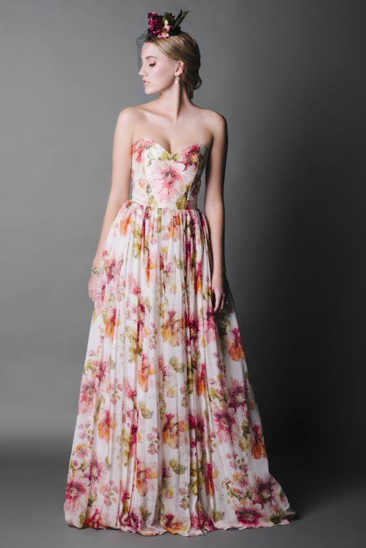 floral print wedding dress LsDA4uyz