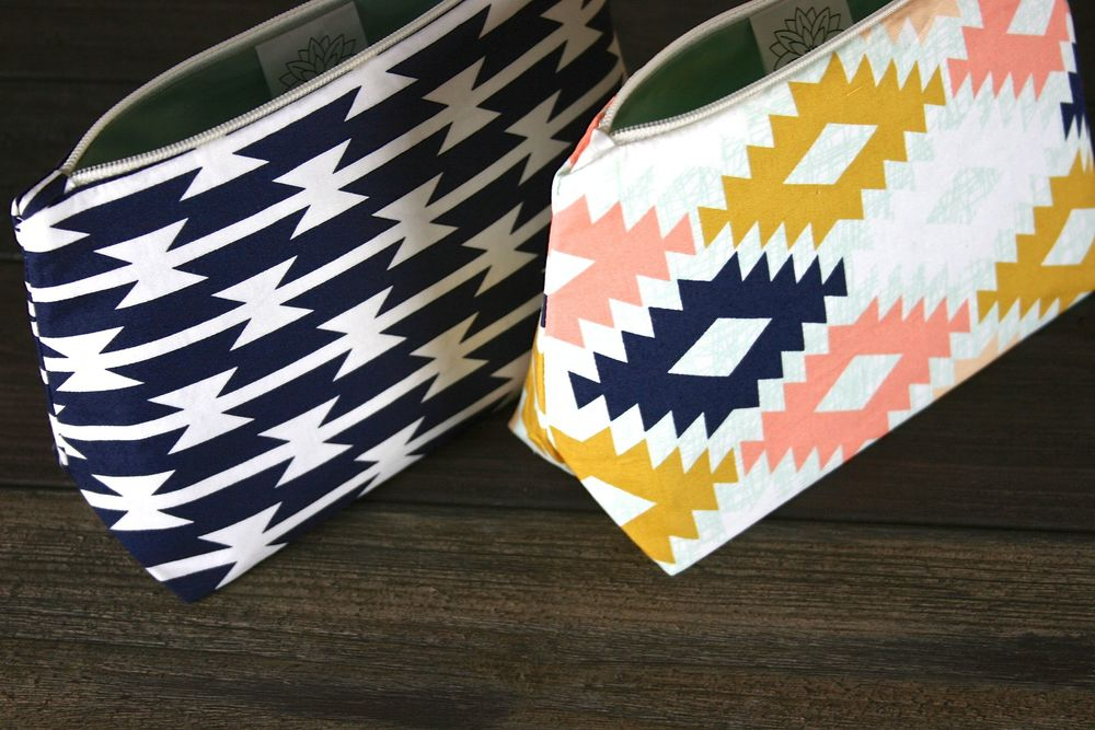 Agave Southwest & Navy and White Southwest Geometric Cosmetic Bags - Le Pique Nique by Jordani Sarreal.jpg