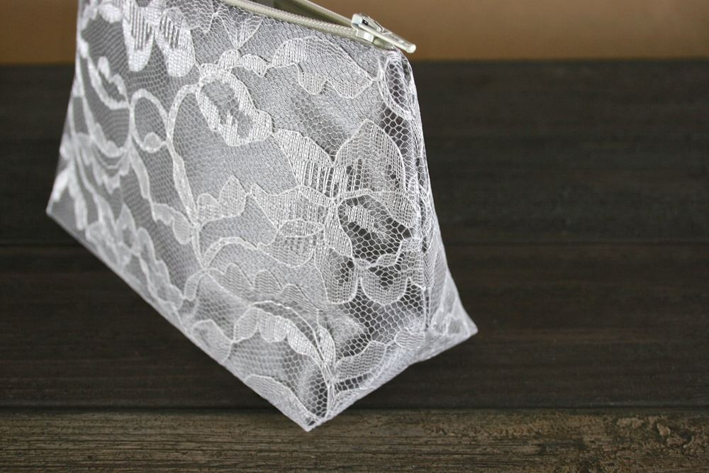Gray Satin & Ivory Lace Cosmetic Bag - Le Pique Nique by Jordani Sarreal 02.jpg
