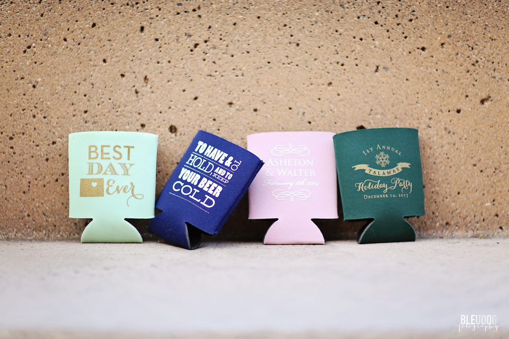 wedding beer koozies // wedding favors by rook design company // the bridal boutique