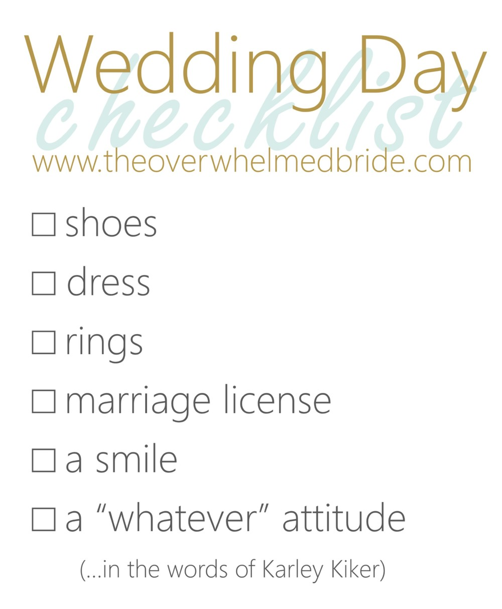 wedding day checklist for the bride