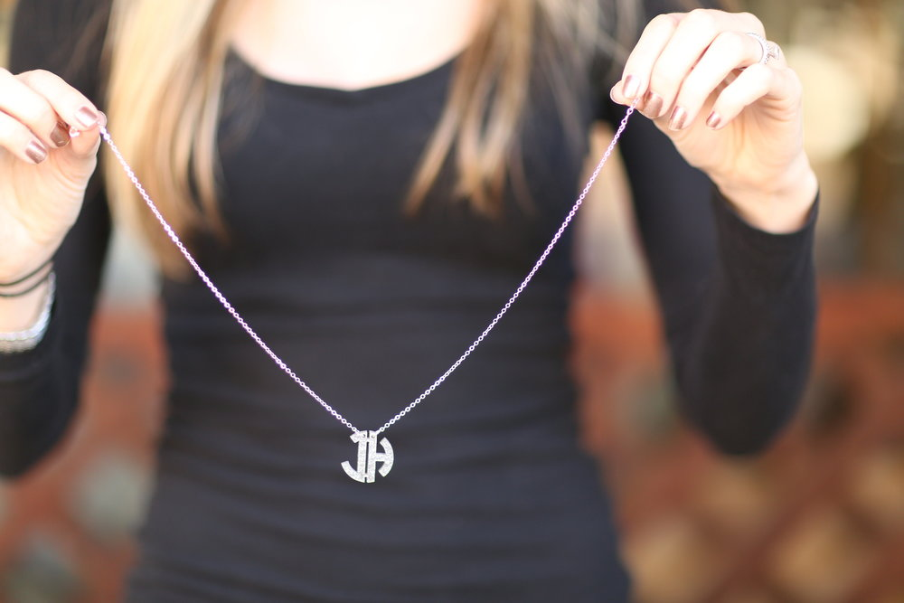 glitter monogrammed necklace by Prep Obsessed