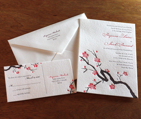 cherry blossom wedding inspiration — the overwhelmed bride, Wedding invitations
