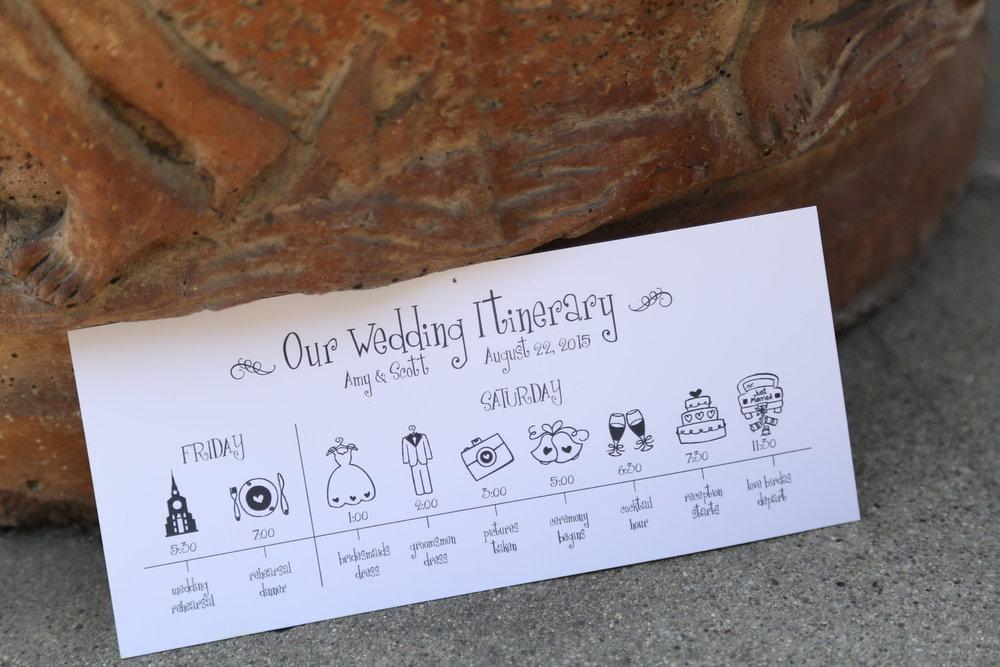 Cute Wedding Programs, Wedding Itinerary
