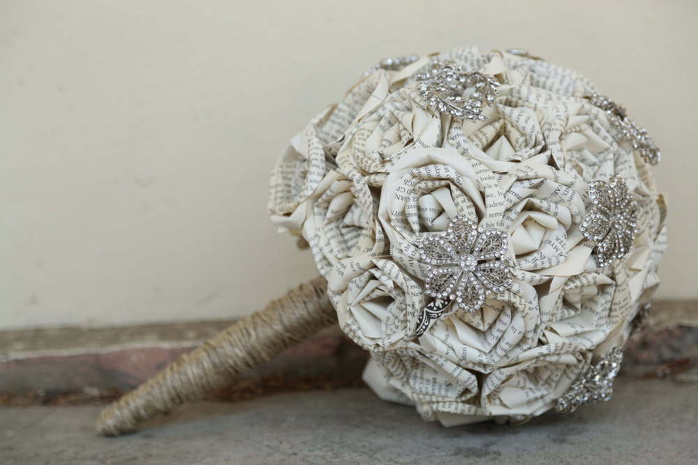 book page brooch bouquet