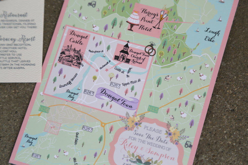 custom wedding maps by feathered heart prints