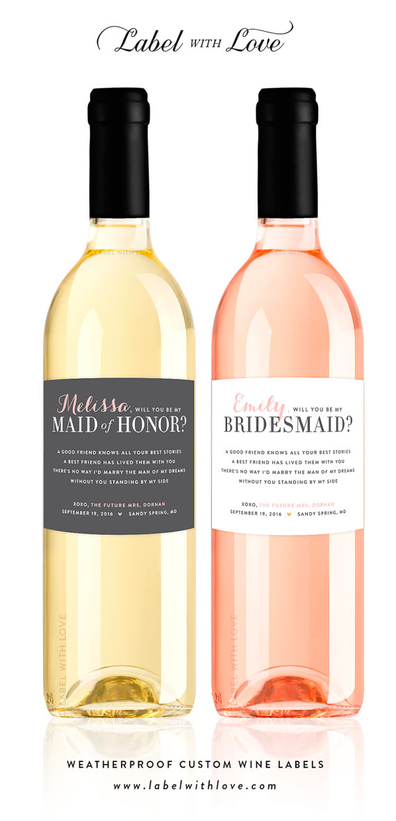 wine bottle label bridesmaid proposal