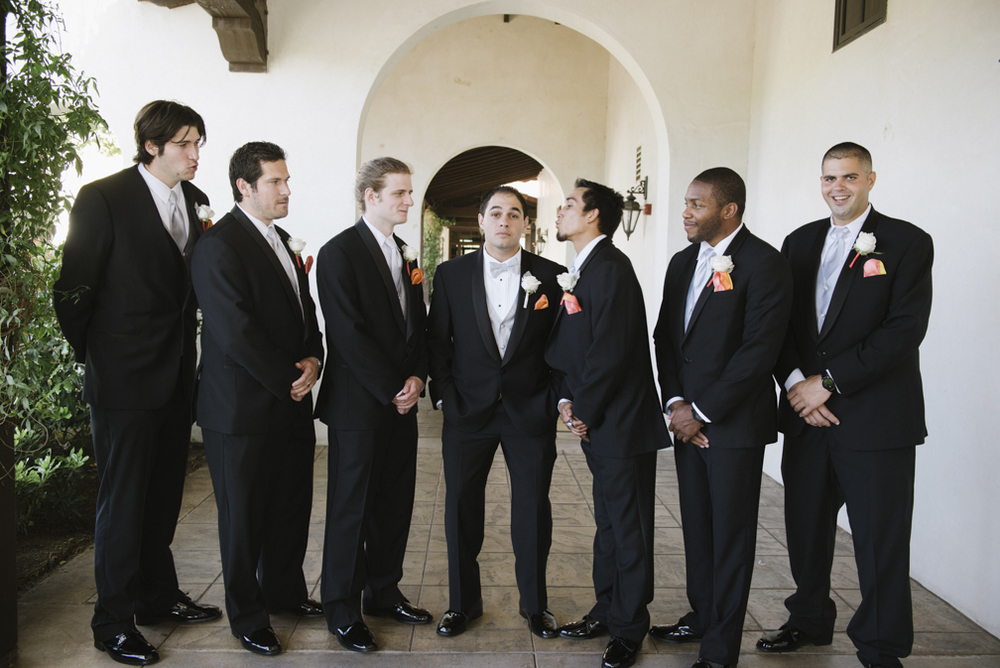 groomsmen attire orange white and black