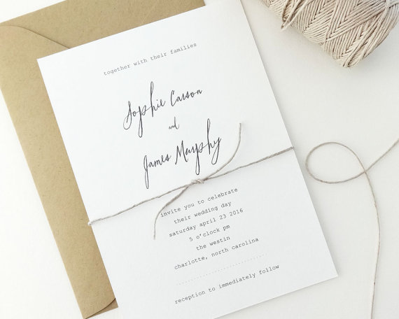 18 simple + inexpensive wedding invitations — the overwhelmed, Wedding invitations