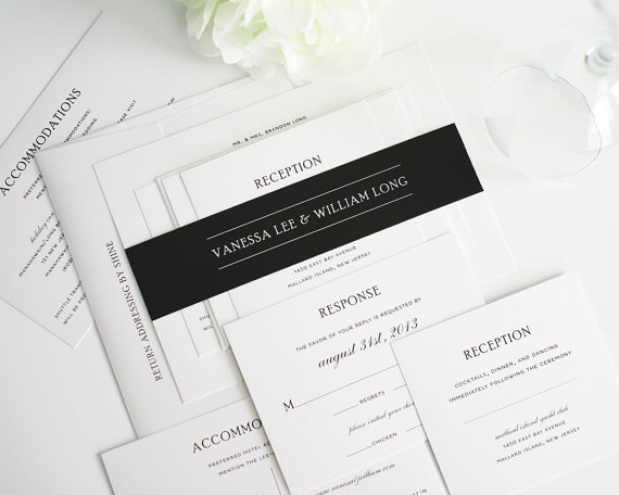 black and white simple formal wedding invitation
