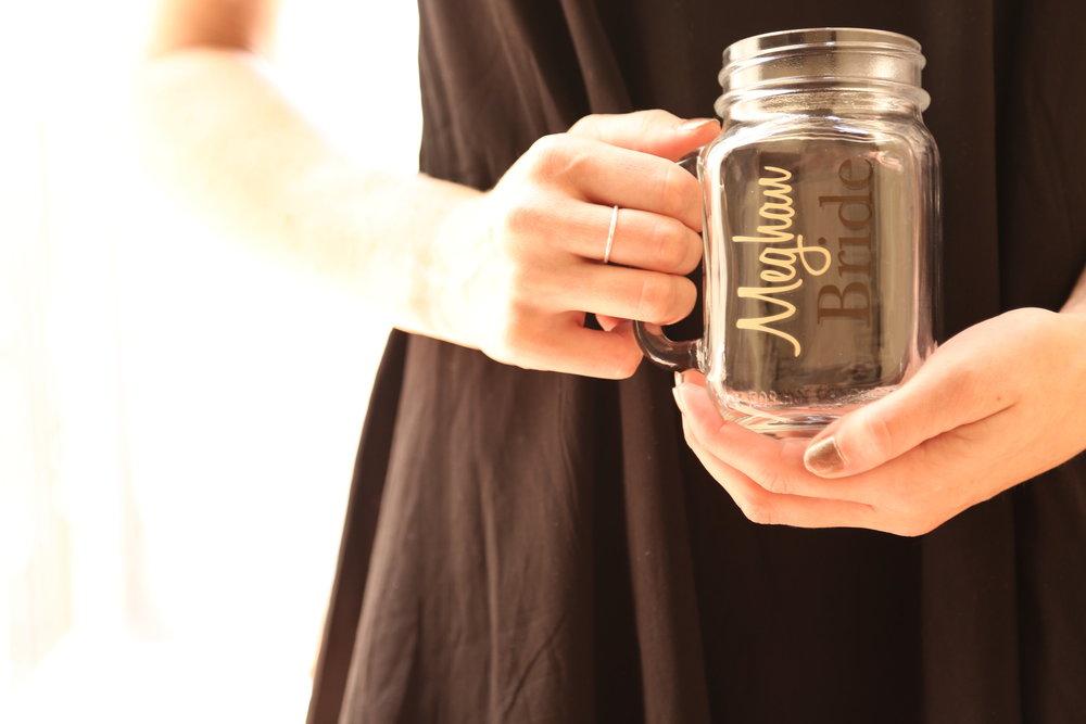 bridesmaid mason jar mugs