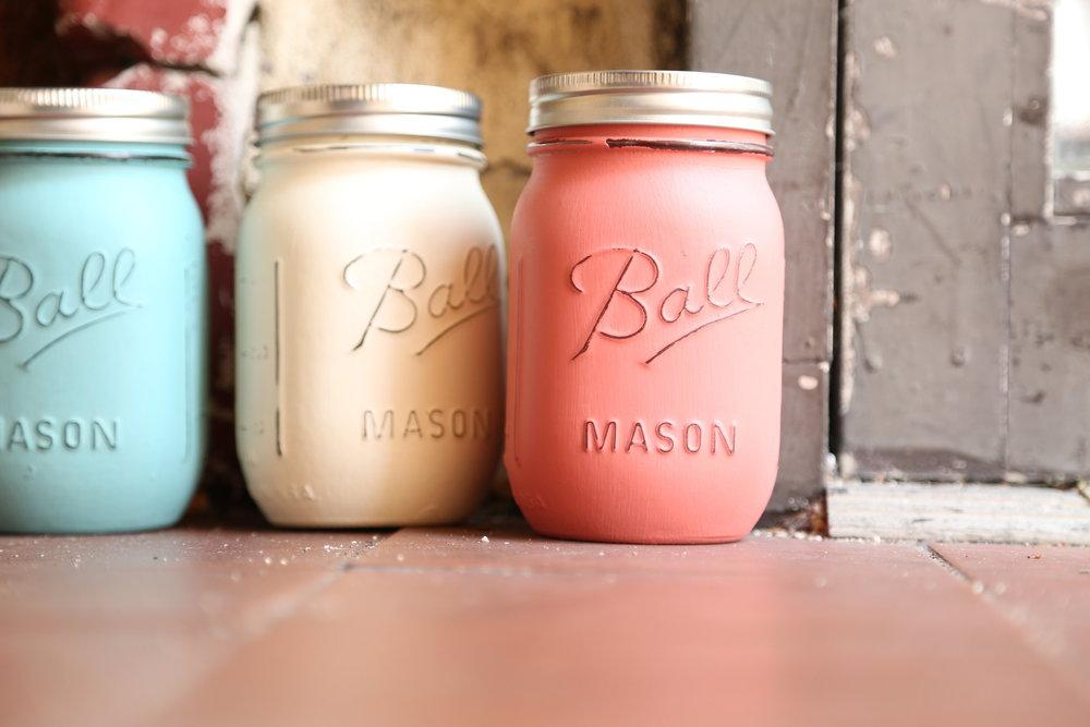 painted mason jar wedding decor