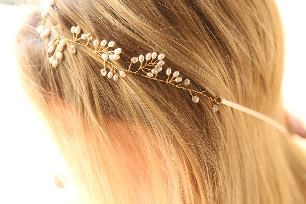 gold and pearl bridal belt, bridal headband