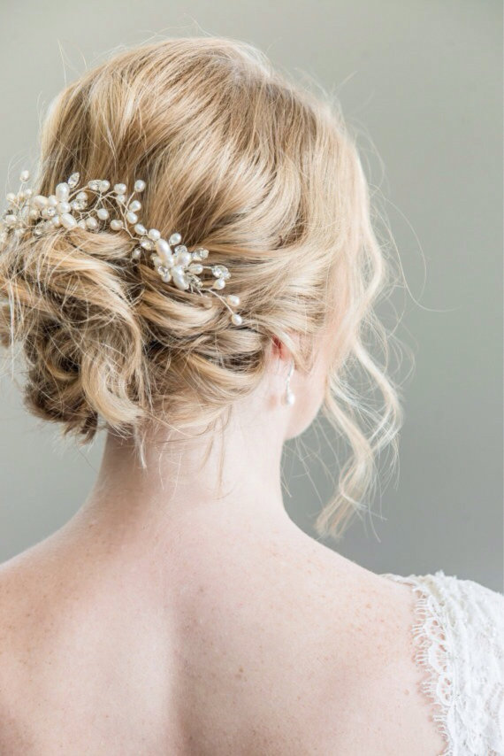 gold and pearl bridal hairpiece