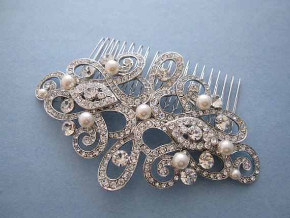 pearl and diamond bridal hair comb