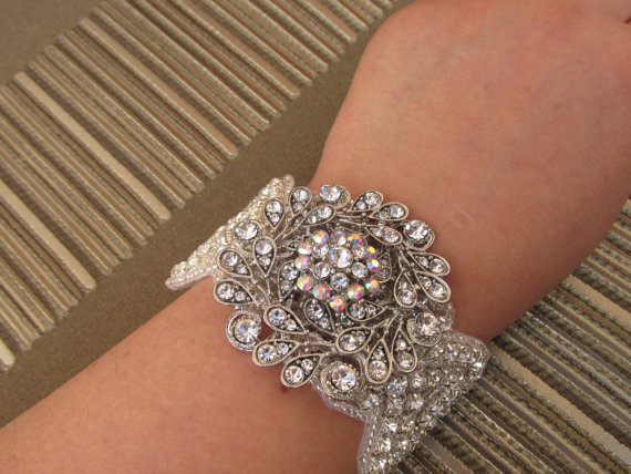 vintage crystal and rhinestone bridal bracelet