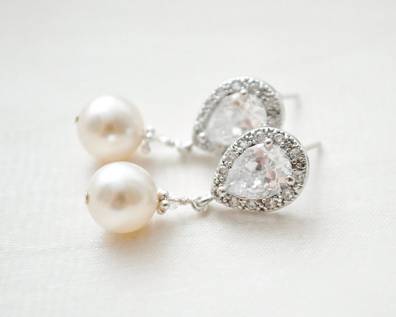 rhinestone and pearl tear drop bridal earrings
