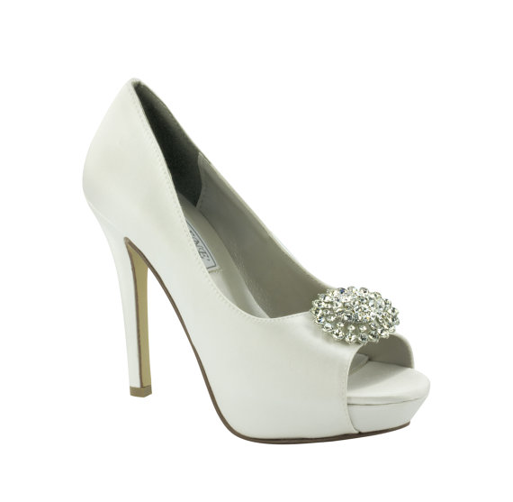 satin peep toe jeweled bridal heels