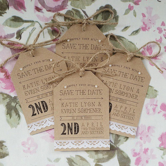 rustic twine and lace save the date tags unique save the dates