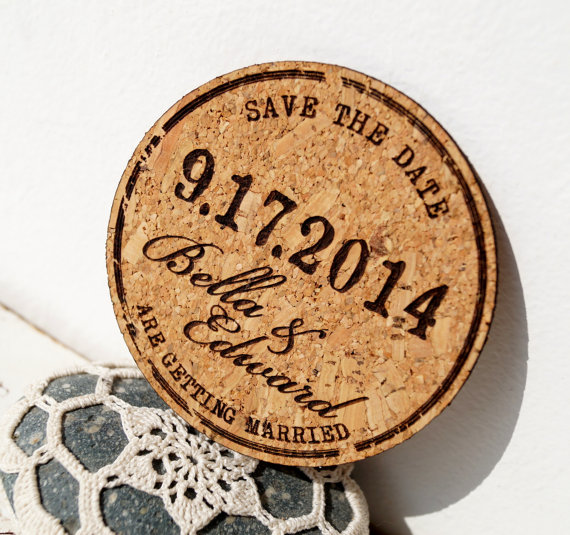 cork coaster save the date unique save the dates