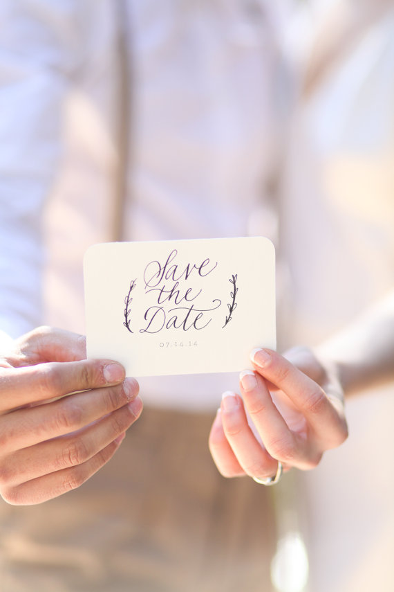 calligraphy business card style save the date unique save the dates