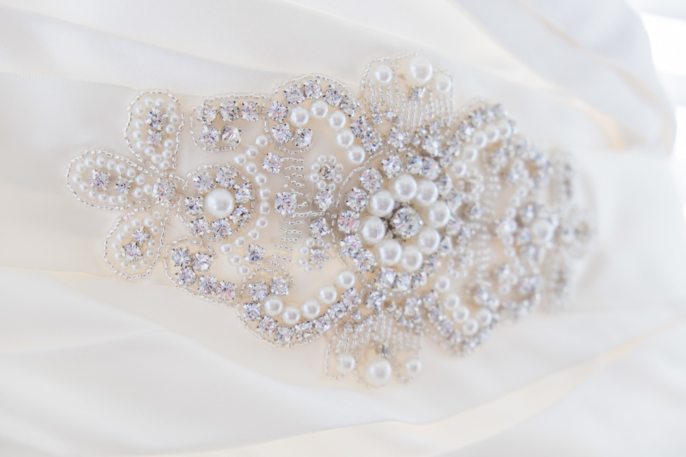 wedding dress beading and detail