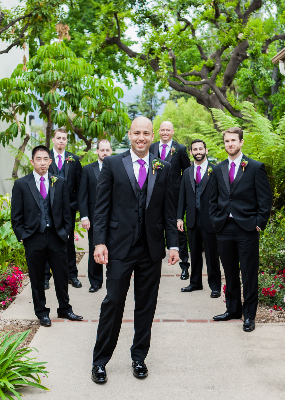 purple groomsman attire