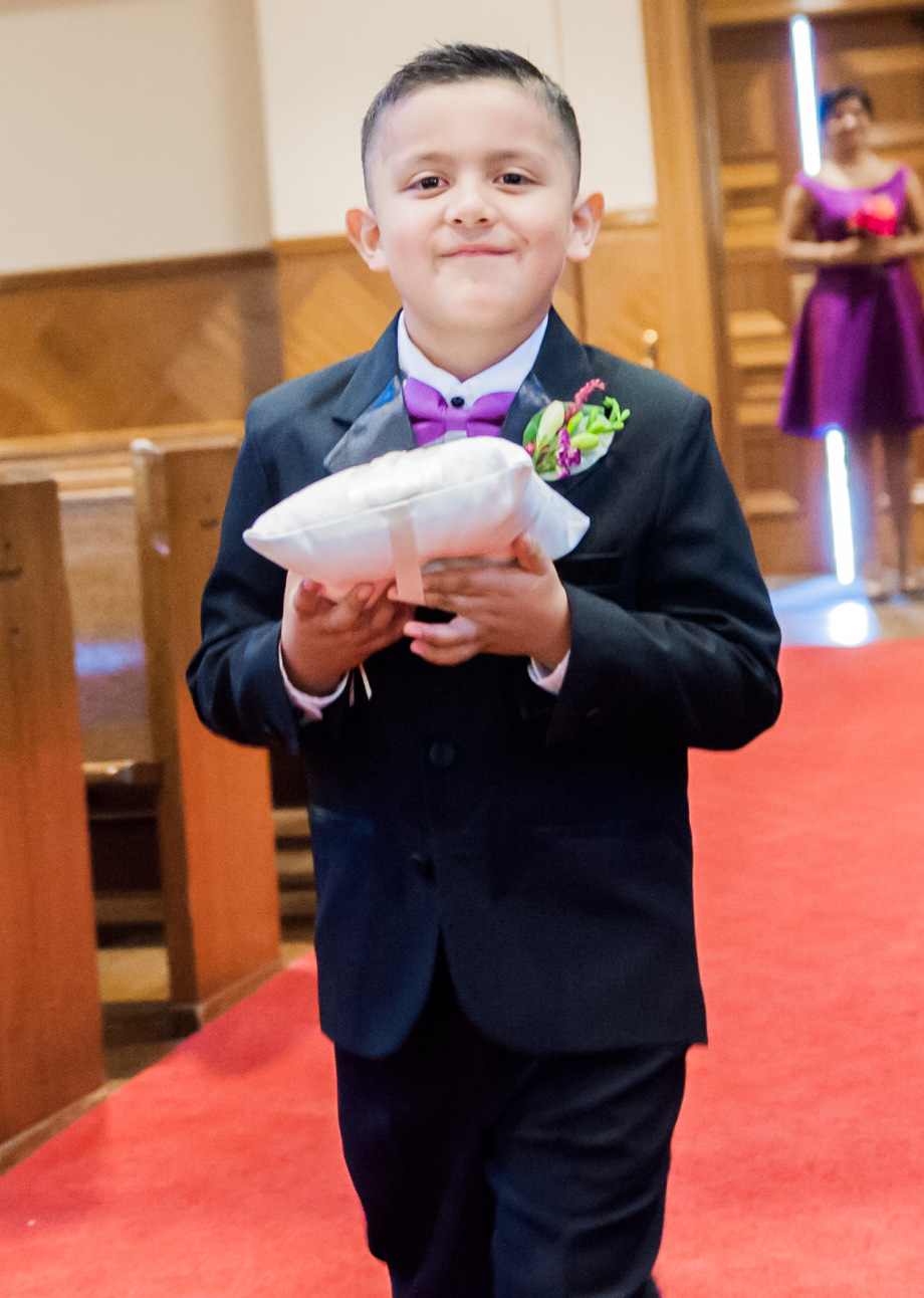 purple and black ring bearer attire