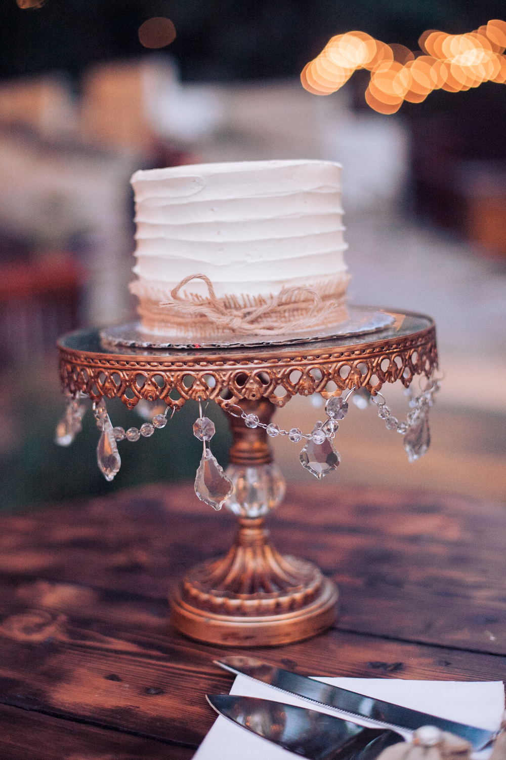 rustic jeweled wedding cake stand