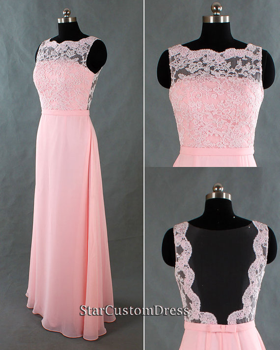 Long Lace Bridesmaid Dress Pink Long Chiffon Dress Open Back Blush Long Formal Dress