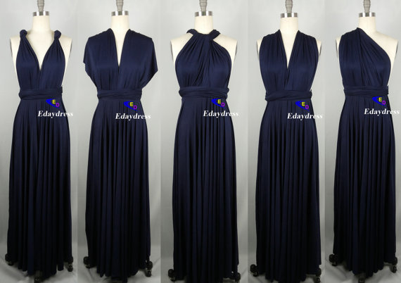 Sweet heart Wrap Convertible Infinity Dress Evening Dresses Straight Hem Floor Length Navy Bridesmaid Dress