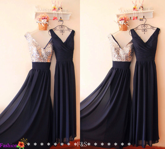 Navy Bridesmaid Dress,Prom Dress,Elegant Long Chiffon Bridesmaid Dress,Chiffon Formal Navy Evening Prom Dress,Sexy Sequin Bridesmaid Dress