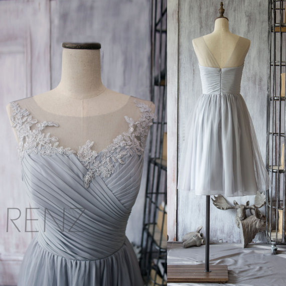 2015 Chiffon Short Bridesmaid Dress, Grey Cocktail Dress, Gray Tea Length Dress, Prom Dress, Lace Neck Formal Dress (F149)-Renz