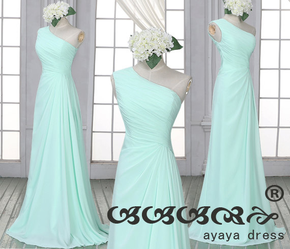Mint green Bridesmaid Dress,one shoulder bridesmaid dresses,long prom dress, Mint green long Bridesmaid dresses,
