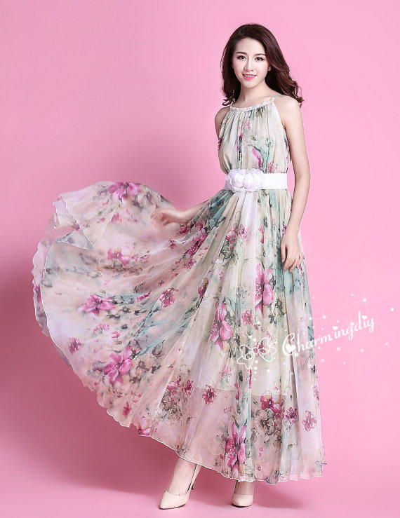 32 Colors Chiffon Flower Long Party Dress Evening Wedding Maternity Lightweight Sundres Holiday Beach Bridesmaid Dress Maxi Skirt J001