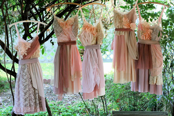 Custom short rustic Bridesmaids Dresses
