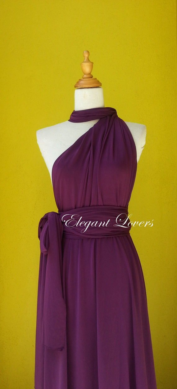 Dark Purple Color Wedding Dress Bridesmaid Dress Infinity Dress Wrap Dress Formal Dress Sexy Evening Dress Cocktail Dress Party Dress