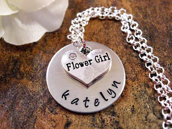 Wedding Necklace, Flower Girl Necklace, Personalized Flower Girl Necklace, Flower Girl Jewelry, Bridal Jewelry