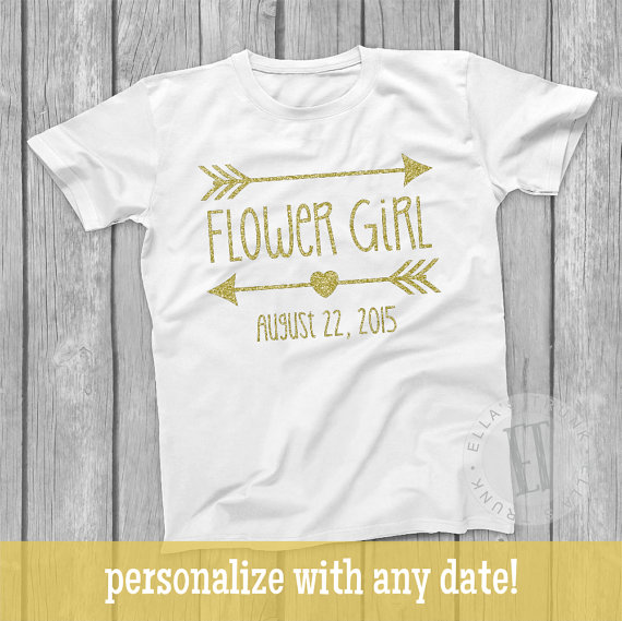 Flower Girl Shirt, Gold Glitter Shirt, Flower Girl T-Shirt, Custom Flower Girl Shirt, Glitter Flower Girl Shirt, Gold Glitter Arrows, TE281