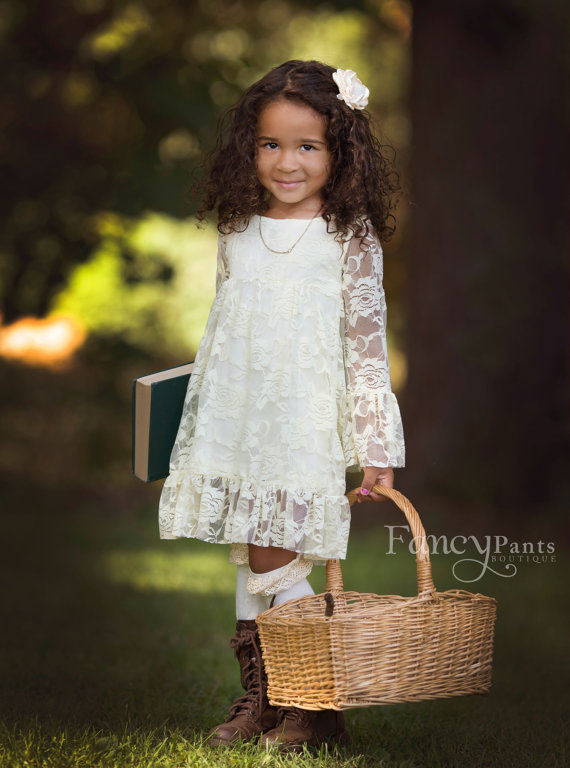 Flower Girl Dress - Boho style- Ivory Flower girl dress - Lace flower girl dresses- Long sleeve lace dress- lace dress, Toddler Dress.jpg