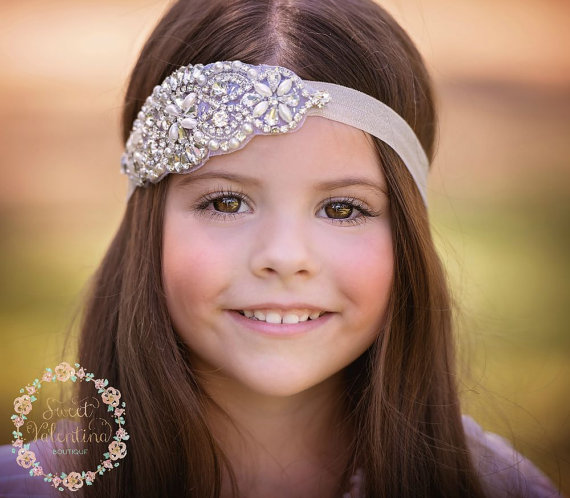 Baby headband, flower girl headband, crystal headband,bridal headband, baby headbands, baby girl headband, baptism headband, baby hair bows.