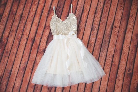 Ivory Tulle Flower Girl Dress, Gold sequin dress, Cream Tulle, Gold Ivory Cream Wedding, Sash Belt set, Gold glitter dress, Ivory tutu dress