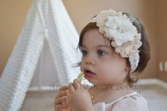 Baby Christening headband, flower girl headband, ivory and cream bow, ivory bow, baptism headband, newborn headband, headbands, vintage