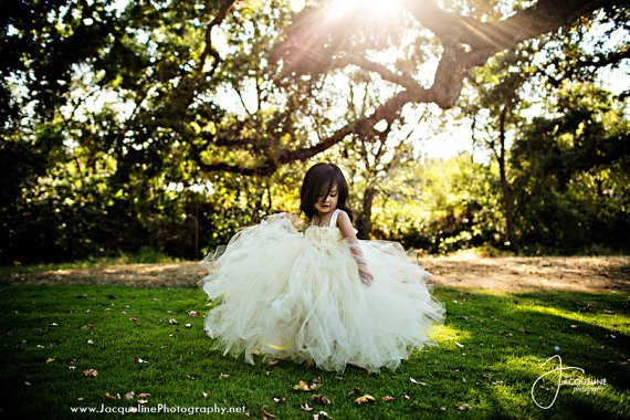 Ivory Flower Girl Dress Tulle Dress Wedding Dress Birthday Dress Toddler Tutu Dress 1t 2t 3t 4t 5t Morden Wedding