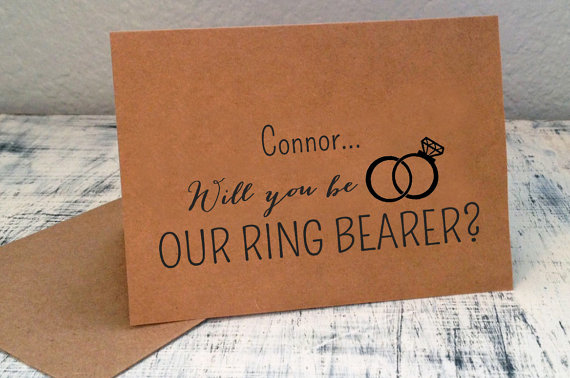 1 Will You Be Our Ring Bearer card - personalized with ring bearer name in front and wedding date on back