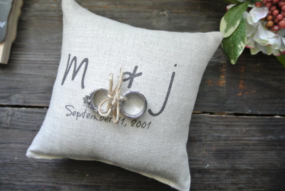 Personalized Ring Bearer Pillow, Custom Ring Bearer Pillow, Personalized Ring Holder Pillow, Rustic Wedding Ring Pillow, Linen Ring Pillow